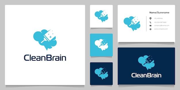 Janelas do limpador de espaço negativo e logotipo do cérebro com cartão de visita