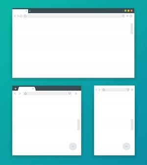 Janelas do navegador em branco para diferentes dispositivos de computador, tablet e telefone.