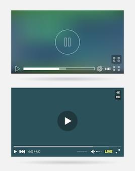 Janelas do player de vídeo com menu e botões
