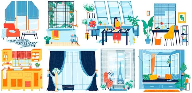 Janelas em diferentes interiores, sala de casa, apartamento de hotel, estúdio de artista e escritório moderno, ilustração