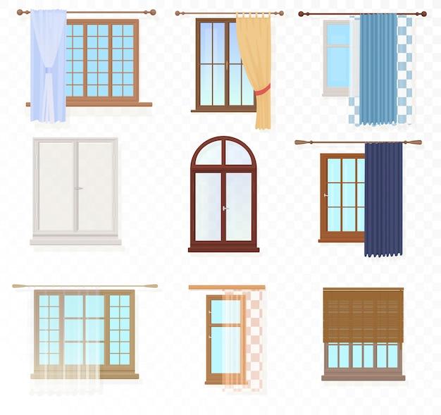 Janelas vintage com conjunto de cortinas