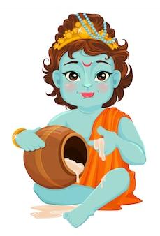 Janmashtami feliz. celebrando o nascimento de krishna