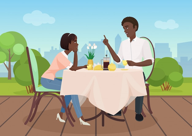 Jantar afro-americano do homem e da mulher em um restaurante. ilustração em vetor desenhos animados casal amantes.