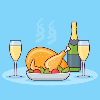 Jantar com frango assado, garrafa e taças de champanhe. design de linha plana