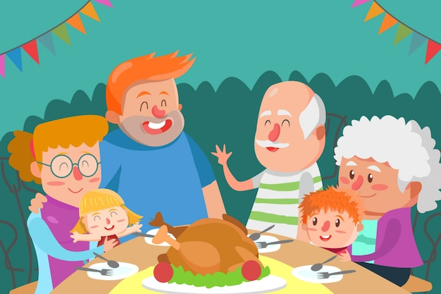 Jantar com grande ilustração da família
