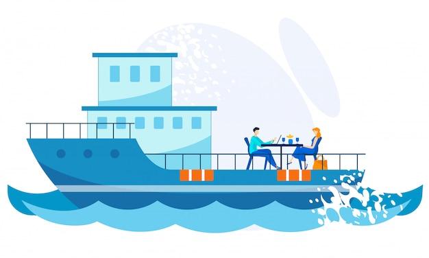 Jantar de banner brilhante no cartoon navio de convés.