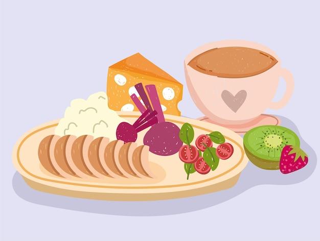 Jantar de comida saudável com xícara de café de frutas vegetais e ilustração de carnes