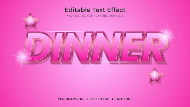 Jantar de efeito de texto