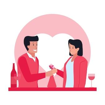 Jantar de homem e mulher no dia dos namorados. Vetor Premium