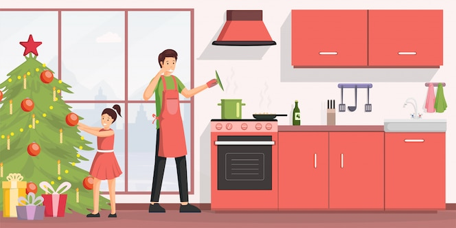 Jantar de natal cozinhar ilustração plana.
