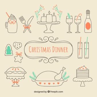 Jantar de natal esboçado