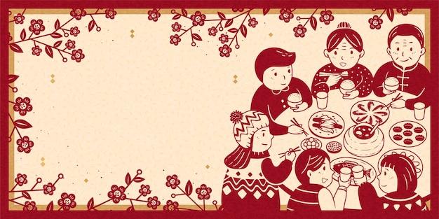 Jantar de reencontro comovente durante o banner do ano novo lunar, tons de bege e vermelho