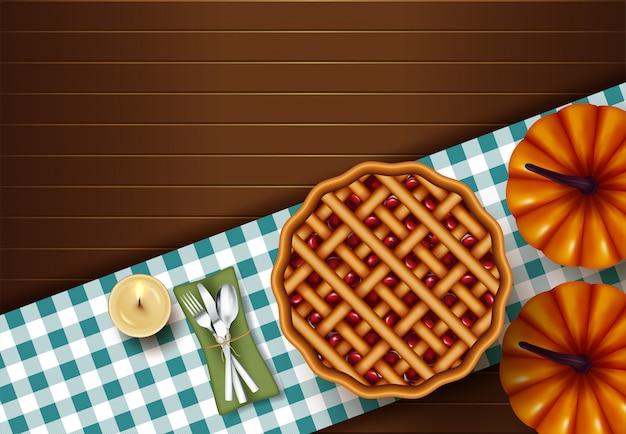 Jantar de torta de ação de graças na vista superior de mesa de madeira
