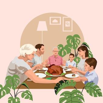 Jantar em família. dia de ação de graças. ilustração vetorial detalhada com elementos planos. estilo pop art.