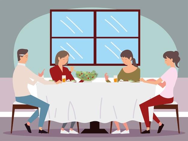 Jantar em família, papai, mãe e suas duas filhas sentadas comendo ilustração