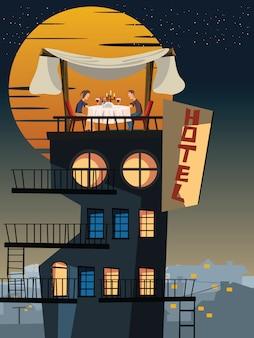 Jantar em uma ilustração do vetor de telhado