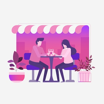 Jantar romântico casal no café