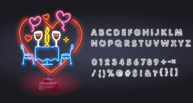 Jantar romântico de néon. quadro indicador luminoso do restaurante