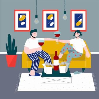 Jantar romântico em casa. casal feliz bebendo vinho e comendo macarrão chinês.