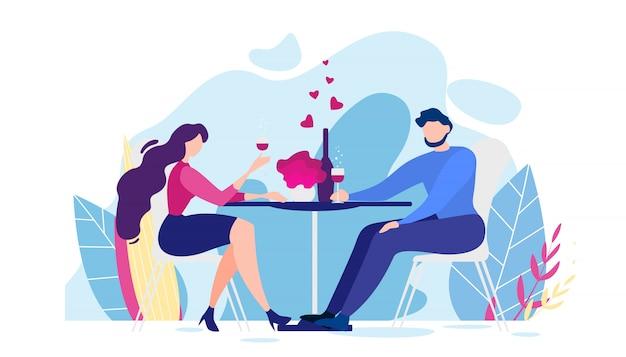 Jantar romântico homem dos desenhos animados e mesa de mulher