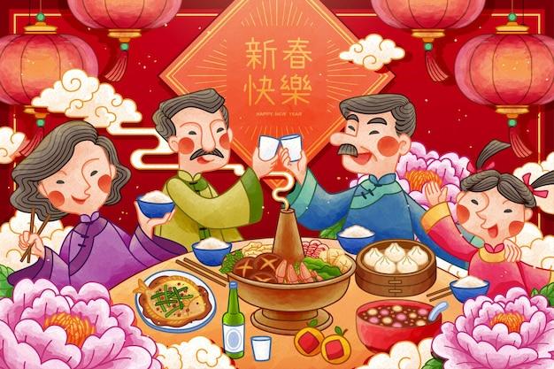 Jantar tradicional de reencontro do ano lunar com flores de peônia e lanternas penduradas