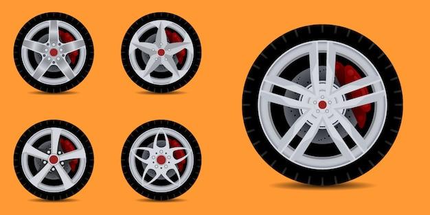 Jante de carro esportivo. coleção de pneus de carro.