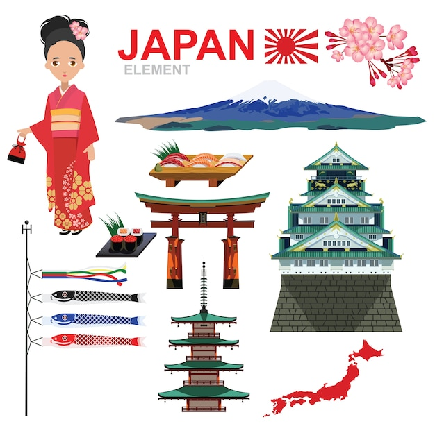 Japan element e design de viagens vector