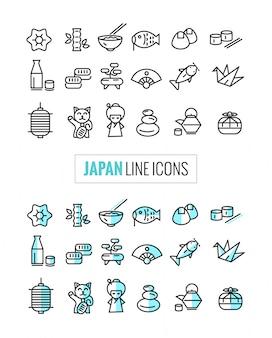 Japão 2 ícones de estilo conjunto, linha fina plana e estilo de ícones mono