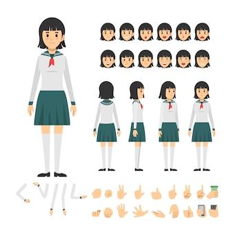 Japão colegial menino personagem personagem conjunto de caracteres