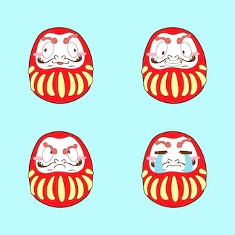 Japão dakuma fofo conjunto de vetores de emoji