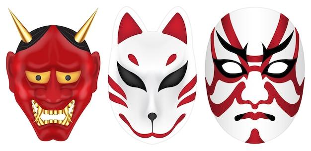 Japão diabo fox e kabuki mask set