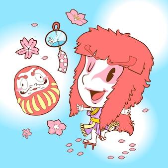 Japão fofo doodle kabuki e daruma