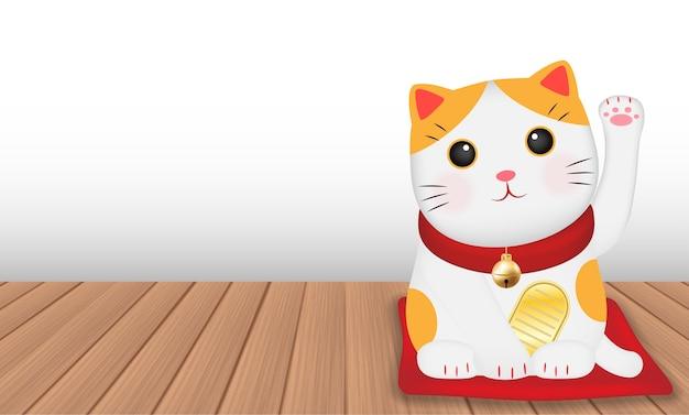 Japão maneki neko gato no assoalho de madeira