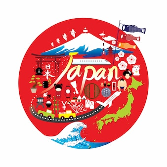 Japão marcos famosos infográfico