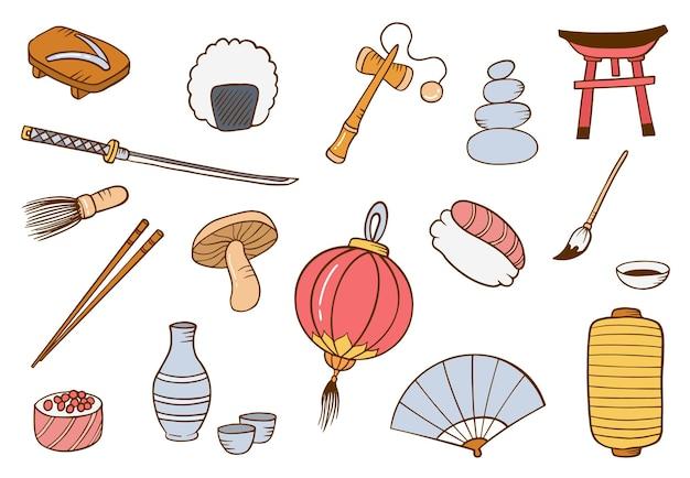 Japão país ou nação doodle conjunto de coleções desenhadas à mão com ilustração em vetor estilo contorno plano