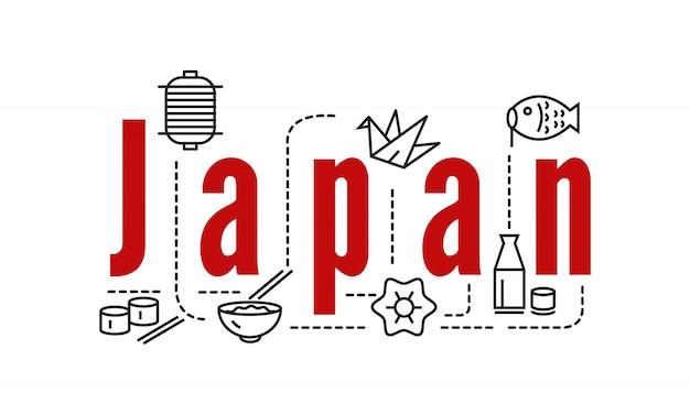 Japão tipografia e ícones. elementos de linha plana