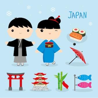 Japão tradição comida lugar viagens ásia mascote menino e menina cartoon elemento