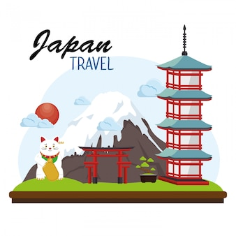 Japão viagens cartaz lugar sinal