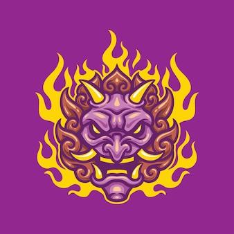 Japonese mask ronin demon esport logo gaming