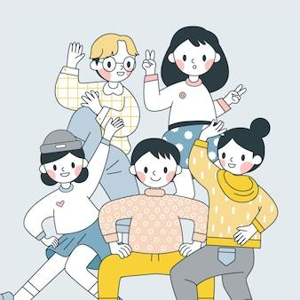 Japoneses fazendo poses engraçadas