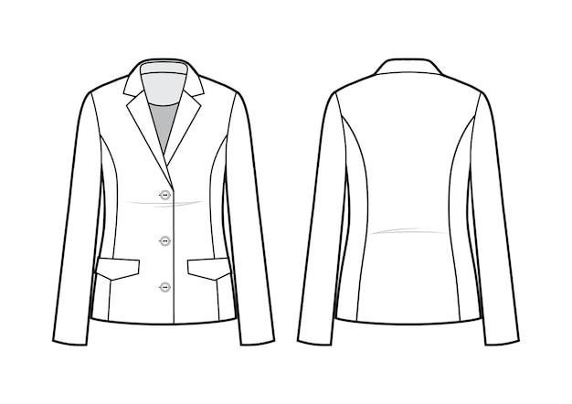 Jaqueta blazer feminina clássica técnica de moda plana