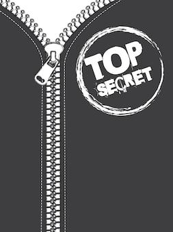 Jaqueta cinza com ilustração em vetor zip top secret selo