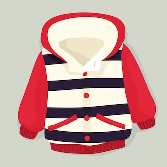 Jaqueta de inverno infantil com listras. em estilo simples.