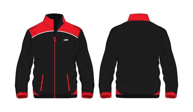 Jaqueta esporte camisa vermelha e preta modelo para design sobre fundo branco. ilustração em vetor eps 10.