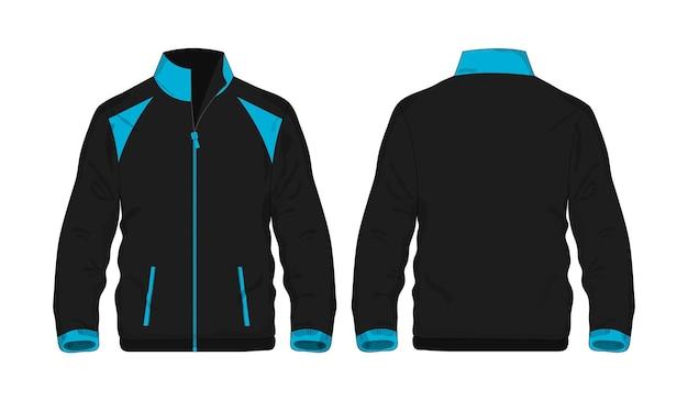 Jaqueta esporte modelo azul e preto para design sobre fundo branco. ilustração em vetor eps 10.