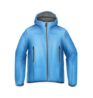 Jaqueta esporte unissex em softshell de vetor azul com capuz, vista frontal isolada no fundo branco