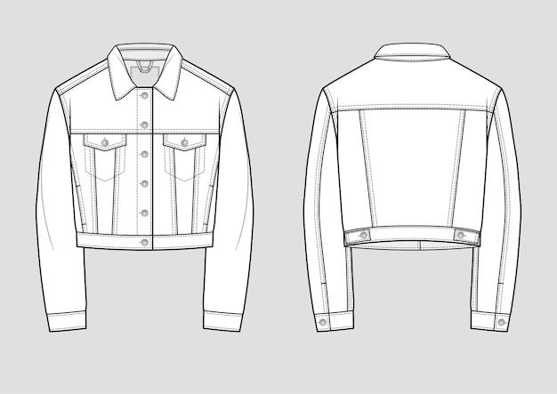 Jaqueta jeans elegante. desenho técnico. ilustração. modelo de maquete.
