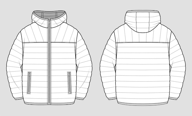 Jaqueta leve de puffer. desenho técnico.