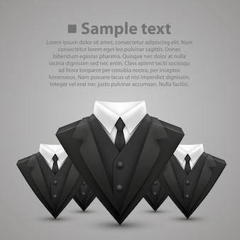 Jaqueta triangular e gravata equipe. ilustração vetorial