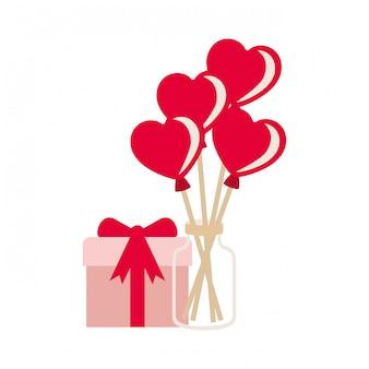 Jar com balões de corações e ícones de caixa de presente